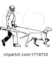 Bird Hunter And Hungarian Pointer Dog Walking Side View Retro Black And White