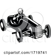 Racing Driver Driving Vintage Race Car Retro Black And White