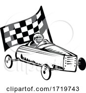 Vintage Soap Box Derby Or Soapbox Car Racer Racing Flag Retro Black And White
