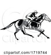 Jockey Riding Thoroughbred Horse Racing Retro Woodcut Black And White