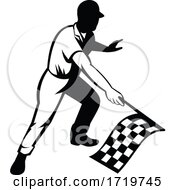 Flagman Race Official Waving Checkered Or Chequered Flag Finish Line Retro Retro Black And White