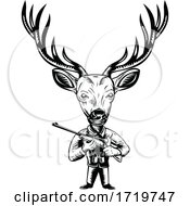 Stag Buck Or Deer Hunter With Hunting Rifle Retro Woodcut Black And White