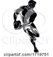 Rugby Player Passing The Ball Viewed From Front Retro Woodcut Black And White