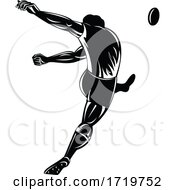 Rugby Player Or Kicker Kicking The Ball Viewed From Rear Retro Woodcut Black And White