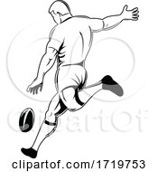 Rugby Player Or Kicker Drop Kicking The Ball Viewed From Side Retro Woodcut Black And White