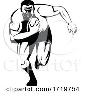 Rugby Player Running With Ball Viewed From Front Retro Woodcut Black And White