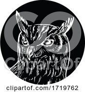 Head Of Great Horned Owl Woodcut Retro Black And White
