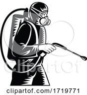 Pest Control Exterminator Spraying Side Retro Woodcut Black And White