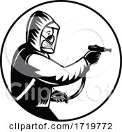 Pest Control Exterminator Spraying Pesticide Or Insecticide Retro Woodcut Black And White