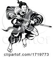 Samurai Warrior Or Bushi With Katana Sword Fighting Retro Woodcut Black And White