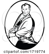 Samurai Warrior With Katana Sword In Fighting Stance Oval Retro Woodcut Retro Black And White