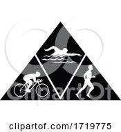 Triathlon Sport Running Swimming And Cycling Triangle Black And White