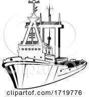 Harbor Tugboat Tug Boat Tug Retro Black And White