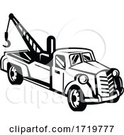 Vintage Tow Truck Or Wrecker Pick Up Truck Side View Retro Black And White
