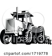 Poster, Art Print Of Farm Tractor Pulling A Plow Or Plough While Plowing Retro Black And White