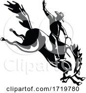 Rodeo Cowboy Rider Riding A Bucking Bronco Retro Woodcut Black And White