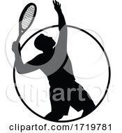 Male Tennis Player With Racquet Serving Silhouette Circle Retro Retro Black And White