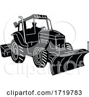Snow Plow Tractor Snow Removal Machine Side Retro Black And White