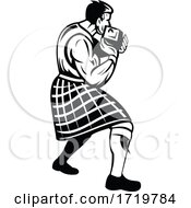 Highlander Putting Heavy Stone Or Stone Put In Scottish Highland Games Retro Black And White