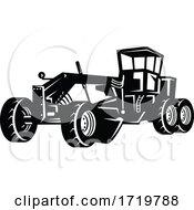 Poster, Art Print Of Vintage Road Grader Motor Grader Or Blade Grading Retro Woodcut Black And White