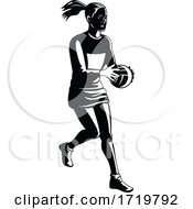 Netball Player Catching And Passing Ball Retro Black And White