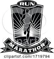 Marathon Runner Running Front View Shield Retro Black And White