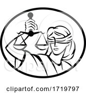 Lady Justice With Blindfold And Beam Balance Or Weighing Scale Retro Woodcut Black And White