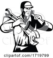 Handyman Repairman Builder Carrying Spanner And Spade Retro Black And White