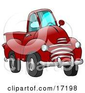 Big Red Pickup Truck Clipart Illustration