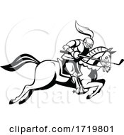 Knight Riding Horse With Golf Club As Lance Side Cartoon Retro Black And White