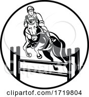 Rider On Horse Show Jumping Stadium Jumping Or Open Jumping Retro Black And White
