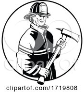 American Fireman Firefighter First Responder Holding Fire Ax Mascot Black And White