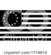 Betsy Ross Flag An Early Design Of United States Flag Black And White Illustration