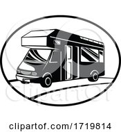 Campervan Or Motorhome Side View Oval Retro Black And White