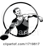 Discus Throw Or Disc Throw Track And Field Event Athlete Throwing Heavy Disc Retro Black And White