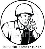 World War Two American Soldier Talking Walkie Talkie Radio Communication Retro Black And White