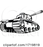 World War Two Battle Tank Pointing Cannon Retro Black And White