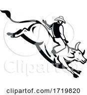 American Bull Rider Riding A Bucking Bull Retro Black And White