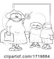 Cartoon Female Elementary School Teacher And Students Wearing Masks By A Chalkboard Lineart