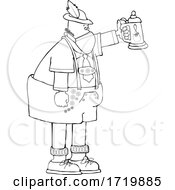 Cartoon German Man Celebrating Oktoberfest With A Beer Stein And Wearing A Mask Lineart
