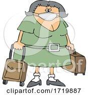Cartoon Female Traveler Wearing A Mask