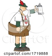 Cartoon German Man Celebrating Oktoberfest With A Beer Stein And Wearing A Mask