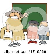 Poster, Art Print Of Cartoon Female Elementary School Teacher And Students Wearing Masks By A Chalkboard