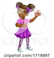Poster, Art Print Of Black Girl Cartoon Child Kid Thumbs Up Waving