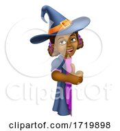 Black Girl Cartoon Child Halloween Witch Sign
