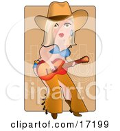 Sexy Blond Caucasian Cowgirl In Chaps A Bra And Underwear Playing A Guitar By A Corral On A Farm Clipart Illustration