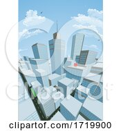 City Buildings Cartoon Comic Book Style Background by AtStockIllustration