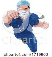Superhero Nurse Doctor In Scrubs Flying Super Hero