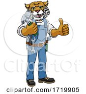 Poster, Art Print Of Wildcat Mascot Carpenter Handyman Holding Hammer