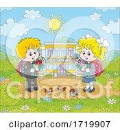 Happy School Children Outside